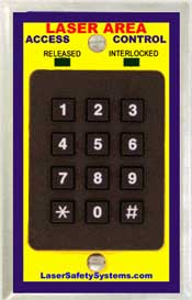 Laser room access keypad with card reader